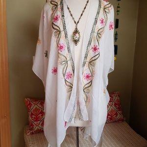 Billowy  Embroidered Kimono Coverup Festival wear